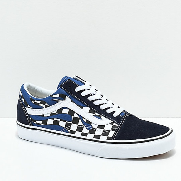 b6285b80989 Vans Old Skool Checkerboard Flame Navy White Shoes.  M 5c0087f3f63eeab13975767e